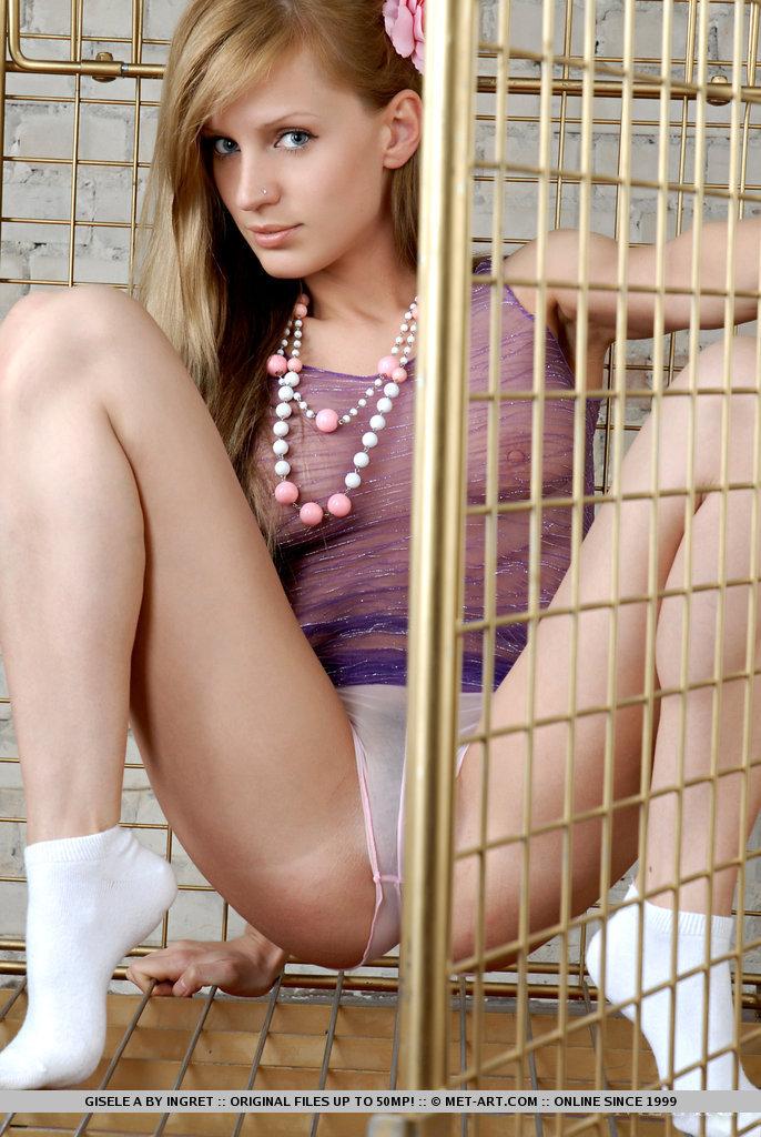 Teen blonde nude in socks