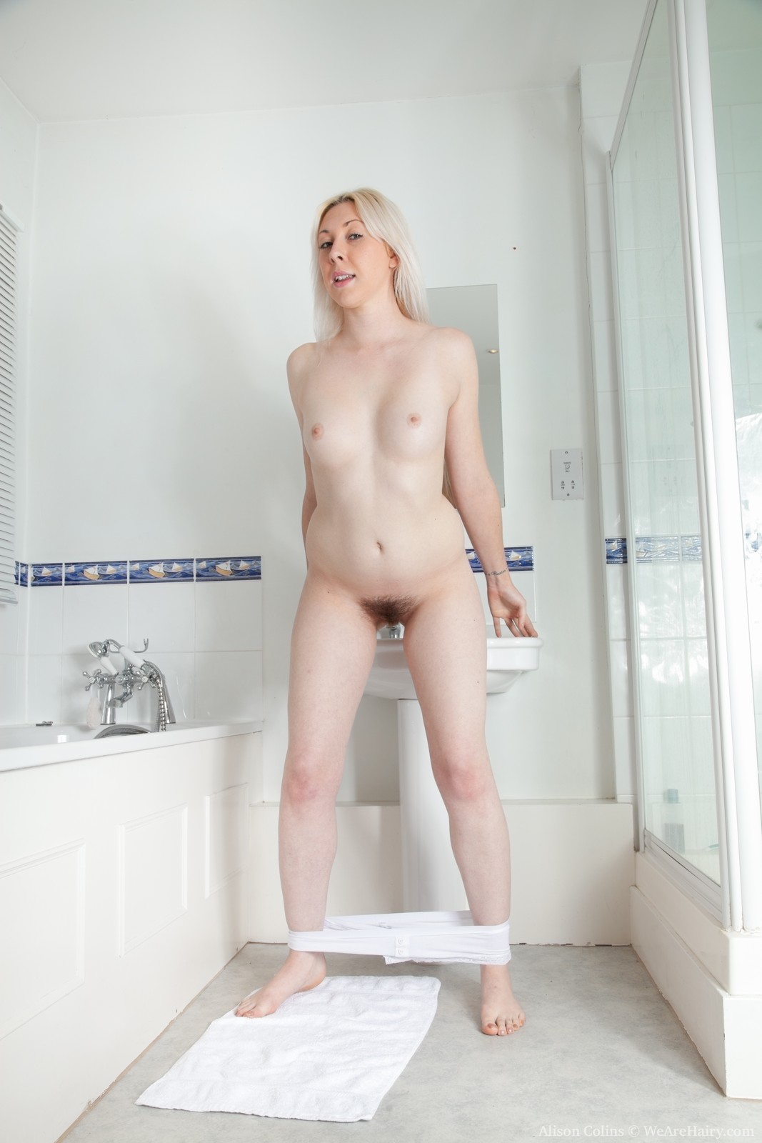 Hairy girl shower nude